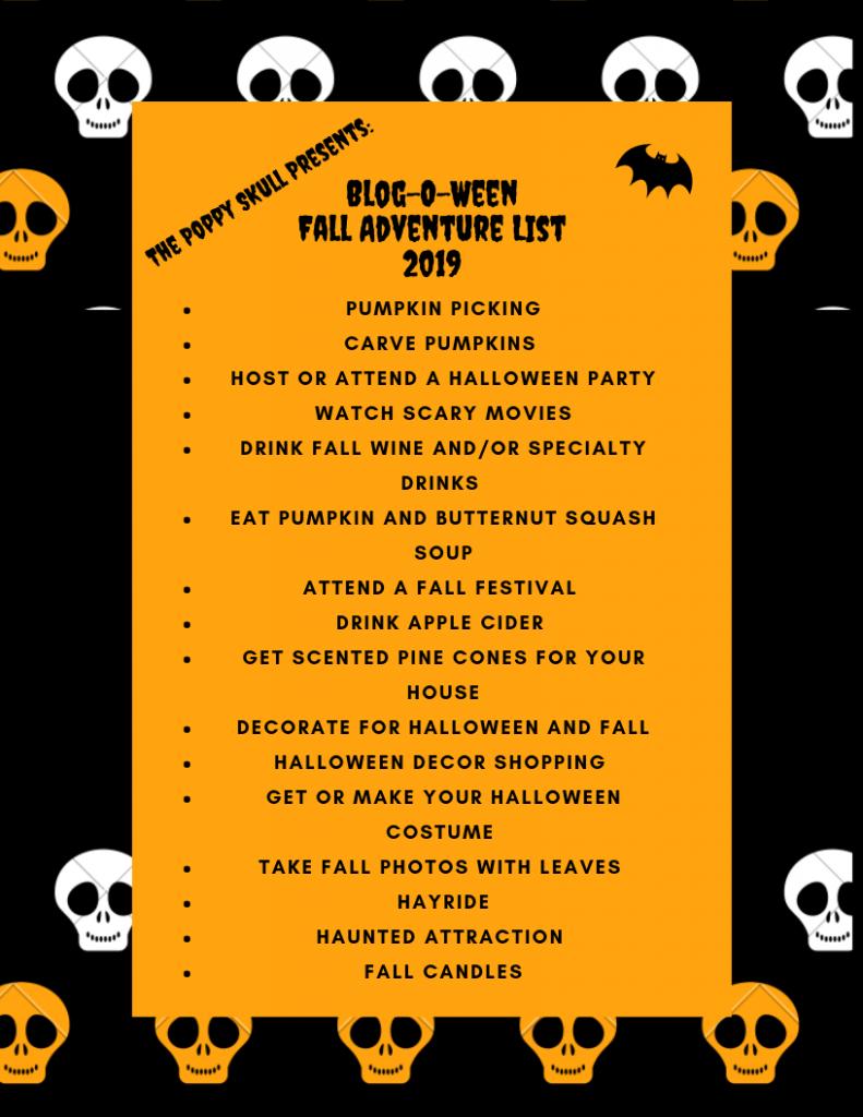 Fall Adventure List Blog-O-Ween 2019