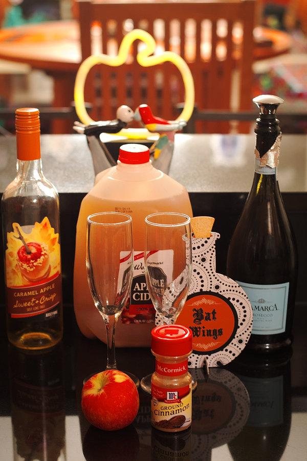 Halloween Cocktail Caramel Apple Mimosas