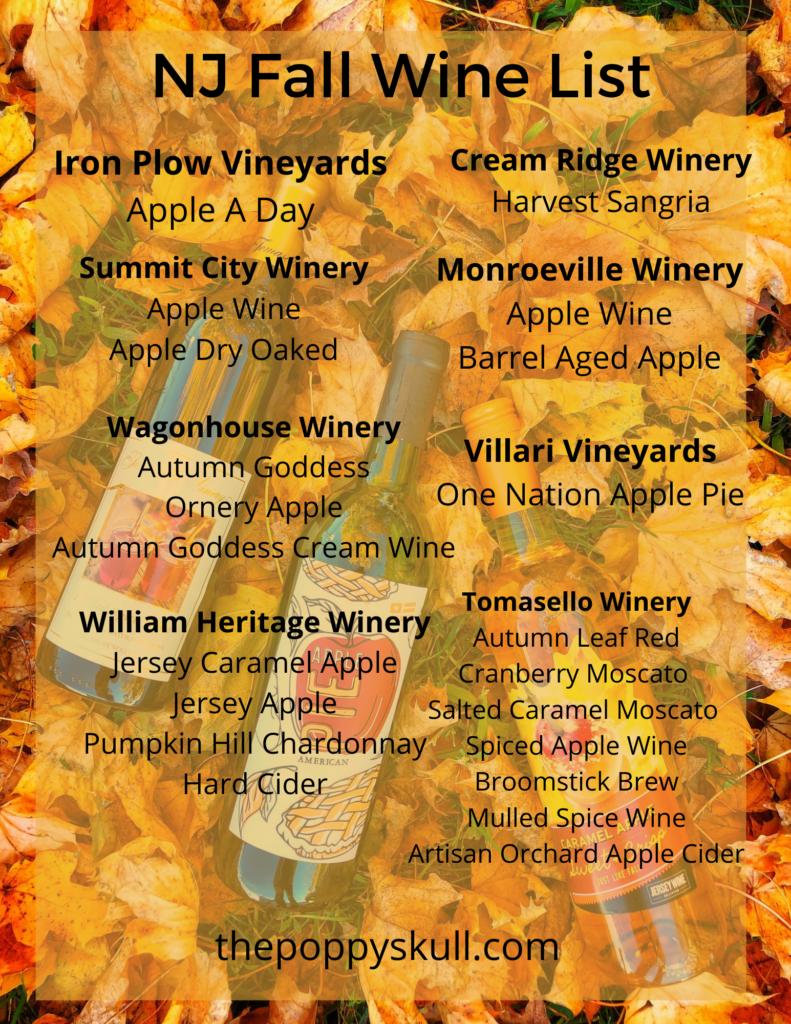 NJ Fall Wine List
