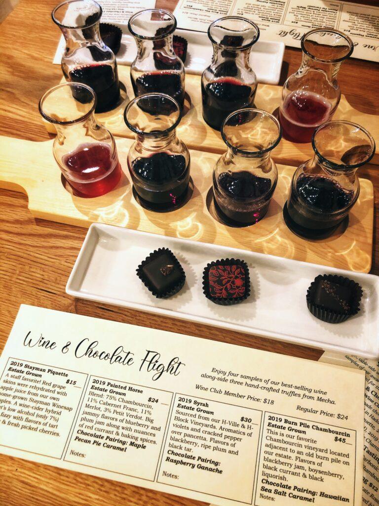 Wine and Chocolate Flights