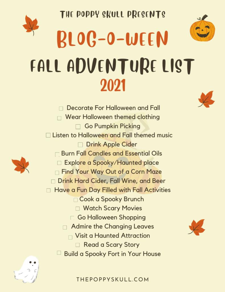Blog-O-Ween Fall Adventure List 2021